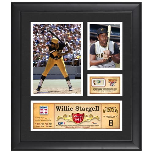 """Willie Stargell Pittsburgh Pirates Fanatics Authentic Framed 15"""" x 17"""" HOF Collage with Piece of Game-Used Ball - No Size"""