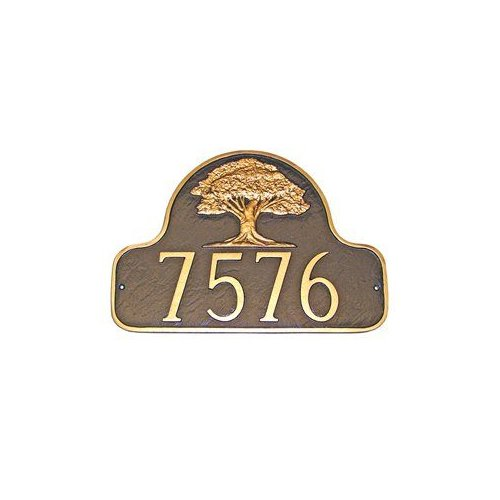 Montague Metal PCS-29 Oak Tree Decorative Arch One Line Address Plaque Black by Brand New