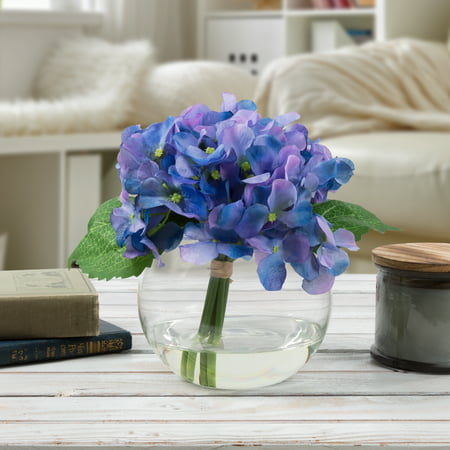 Hydrangea Artificial Floral Arrangement with Vase and Faux Water- Fake Flowers for Home Decor, Shower Centerpiece by Pure Garden (Purple) ()