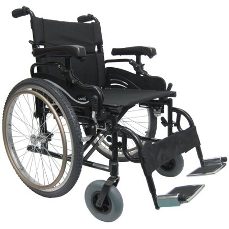 Karman Lightweight Extra Wide Wheelchair in 20 inch Seat with Height Adjustable Armrests and Flip