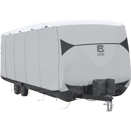 Spy Shield - Classic Accessories SkyShield Deluxe Tyvek Travel Trailer Cover, Fits 15' - 40' Trailers - Water Repellent Tyvek RV Cover