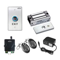 Visionis FPC-7475 One Door Access Control For Out Swinging Door 120lbs Electromagnetic Lock Kit With Wireless Receiver + Remote + VIS-7013 Exit Button Kit