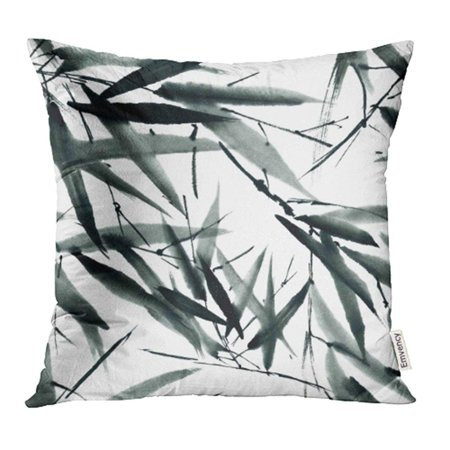 YWOTA Bamboo Leaves Watercolor and Ink in Style Sumi E U Sin Oriental Traditional Painting Pillow Cases Cushion Cover 16x16 inch