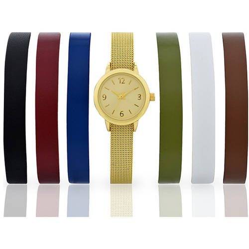 Women's Fashion Gold-Tone Watch with 7-Piece Interchangeable Strap Set