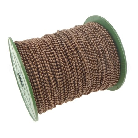 CleverDelights Ball Chain Roll - 330 Feet - Antique Copper Color - 2.4mm Ball - #3 Size - 100M/100Yard - Bulk Chain Spool