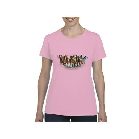 Wild Horses Heard Women's Short Sleeve T-Shirt (Horse T-shirt Designs)