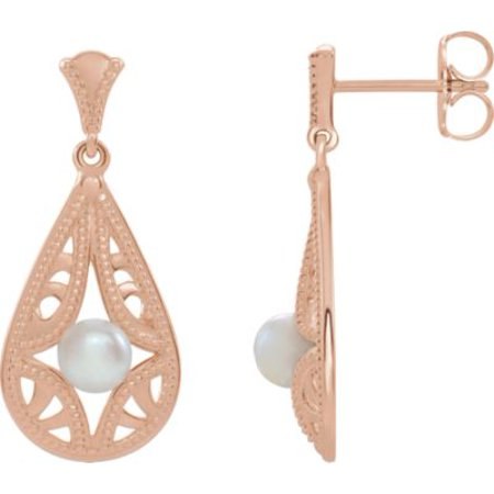 14K Rose Gold Freshwater Cultured Pearl Vintage-Inspired Drop and Dangle Earrings for Womens Vintage Estate 14k Gold Pearl
