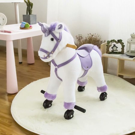 Kinbor Kids Plush Toy Rocker Horse Riding Unicorn Ride On Horse Neigh Sound w/Casters All His Horses Rocking Horse