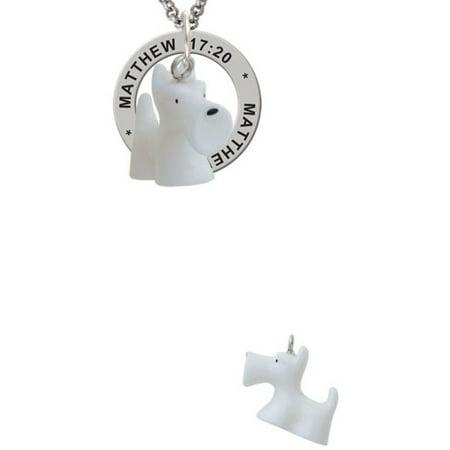 Resin White Scottie Dog Matthew 17:20 Affirmation Ring (Friend Scottie Dog)
