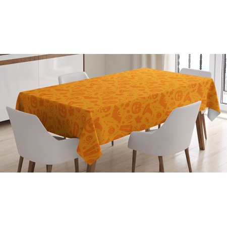 Halloween Decorations Tablecloth, Monochrome Design with Traditional Halloween Themed Various Objects Day, Rectangular Table Cover for Dining Room Kitchen, 52 X 70 Inches, Orange, by - Designs For Halloween