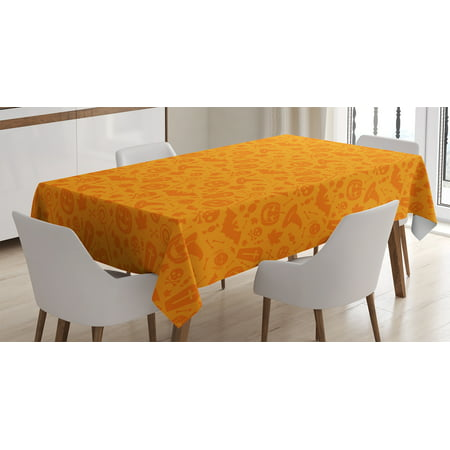 Halloween Decorations Tablecloth, Monochrome Design with Traditional Halloween Themed Various Objects Day, Rectangular Table Cover for Dining Room Kitchen, 52 X 70 Inches, Orange, by Ambesonne