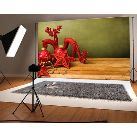 HelloDecor Polyster Photography Christmas Backdrop 7x5ft Xmas Stars Balls Decoration Reindeer Ornament Wooden Floor Background Children Baby Kids Shooting Props Video Studio](Reindeer Props)