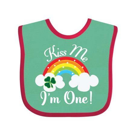 1st Birthday Kiss Me Im One Baby Bib Green and Red One Size