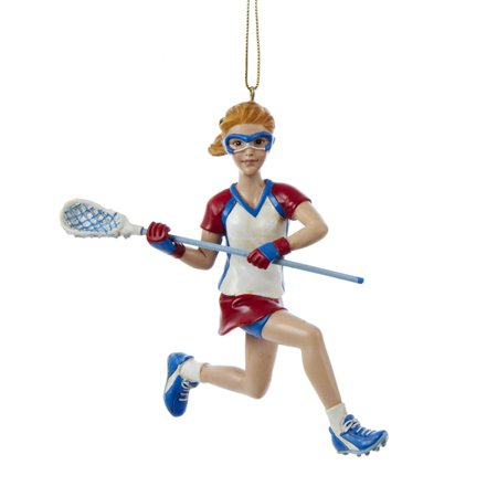 Pack of 6 Red and White Girl Running Lacrosse Players Christmas Ornaments 4