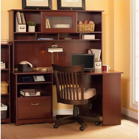 Bush Cabot Corner Computer Desk With Hutch In Harvest Cherry - Bush cabot corner computer desk