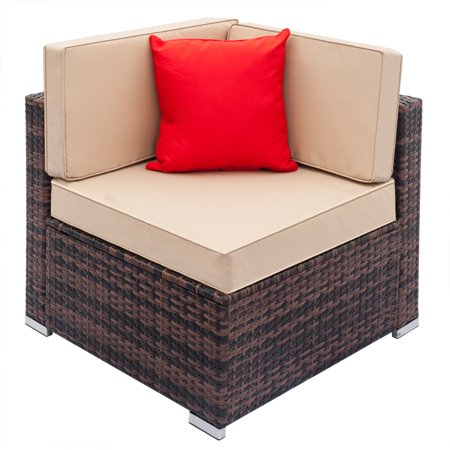 FeelinGirl Fully Equipped Weaving Rattan Sofa Set Brown Gradient-Right Sofa
