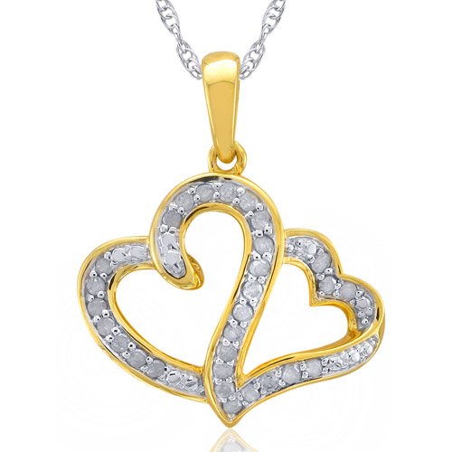 Heart 2 Heart 1/4 Carat T.W. Diamond Sterling Silver Gold Plated Yellow  White Diamond Pendant with Chain