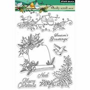 """Penny Black Clear Stamps 5""""X7""""-Holly Scroll"""