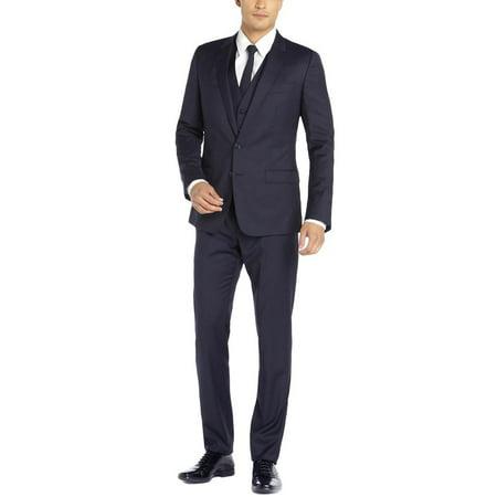 DTI GV Executive Italian Vested Men's Suit Wool 2 Button Jacket 3 Piece Tux Vest Navy Wool 3 Button Italian