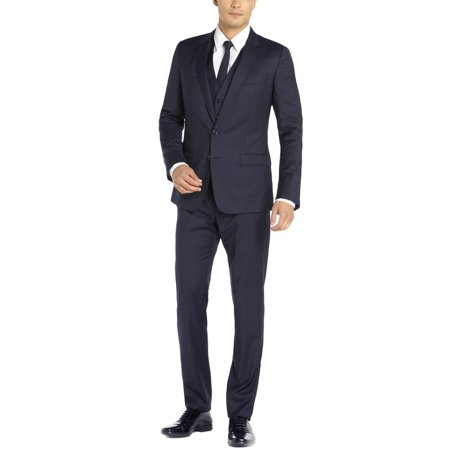 DTI GV Executive Italian Vested Men's Suit Wool 2 Button Jacket 3 Piece Tux Vest Navy Mens Navy Pinstripe Wool Suit