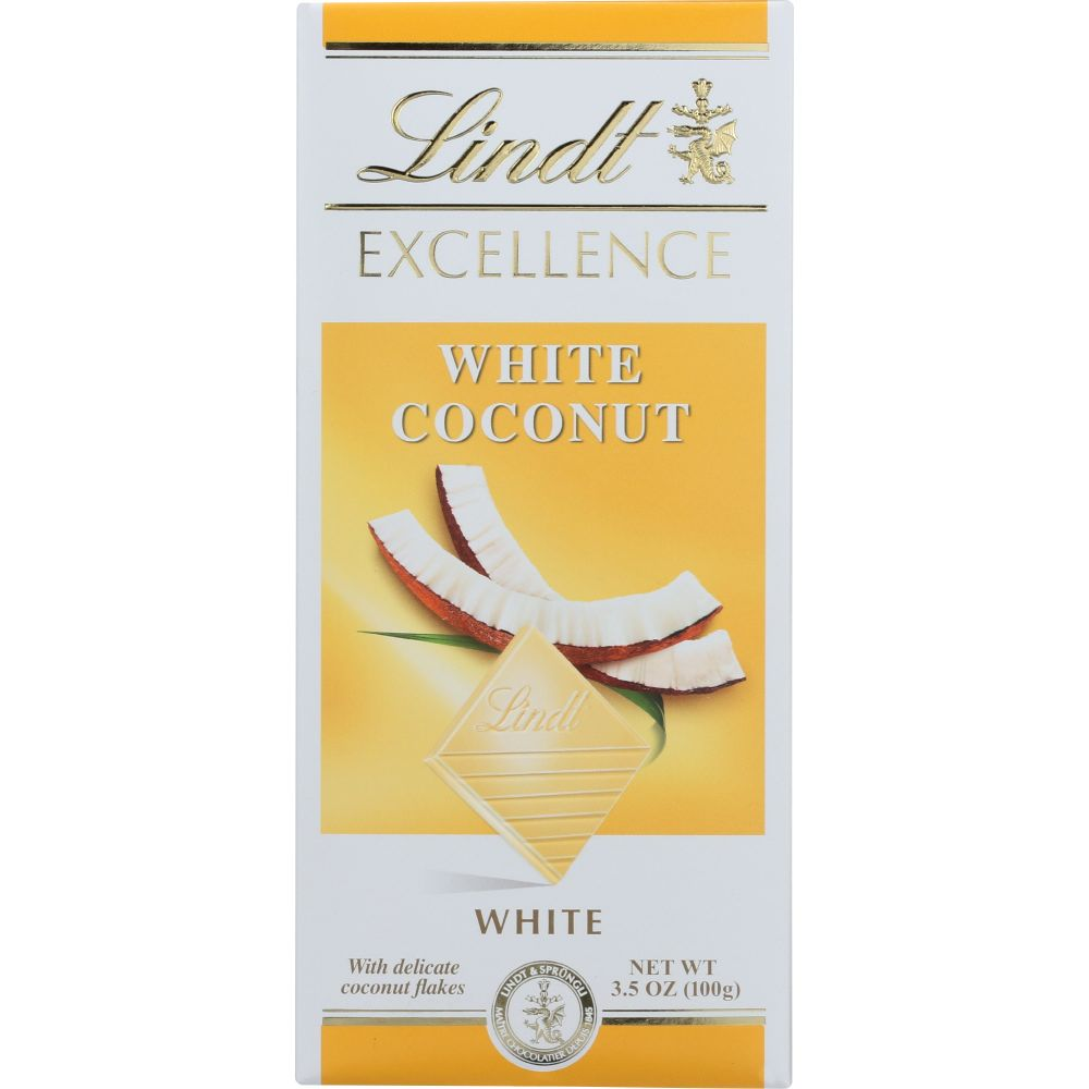Lindt Excellence White Coconut White Chocolate, 3.5-Oz Bars (Pack Of 12)