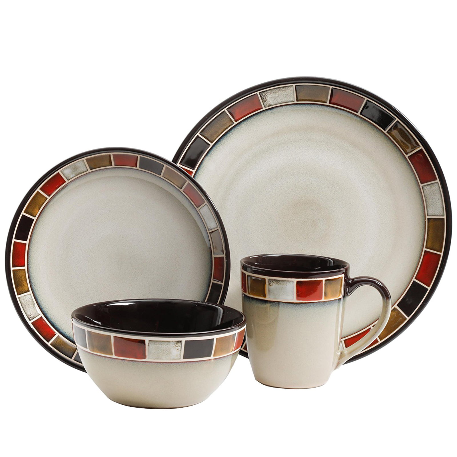 Gibson 69820.16 Casa Estebana Dinnerware Set Beige /& Brown