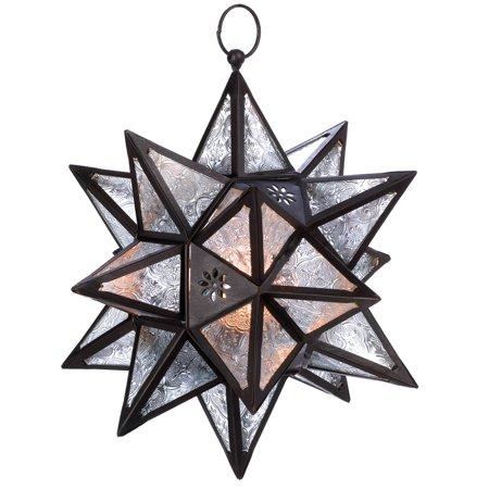 Star Hanging Lantern, Large White Light Candle Lantern Glass Outdoor
