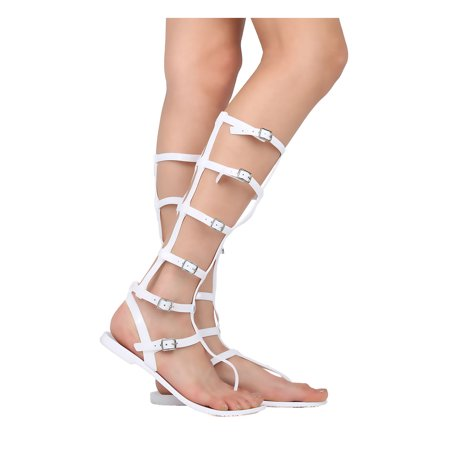 New Women Wild Diva Joanie-126 PVC Open Toe Caged Gladiator Tall (126 Cage)