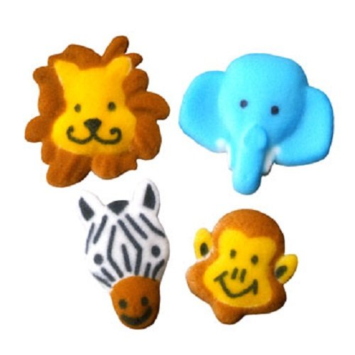 Jungle Animals, Molded Sugar Cupcake Topper, 1 1/4 - 1 1/2 Inch, 8 Count*