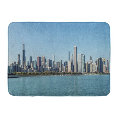 GODPOK City of Chicago Skyline and The Lake Michigan Waterfront Illinois United States America Panoramic Rug Doormat Bath Mat 23.6x15.7 (Michigan City Mall Stores)