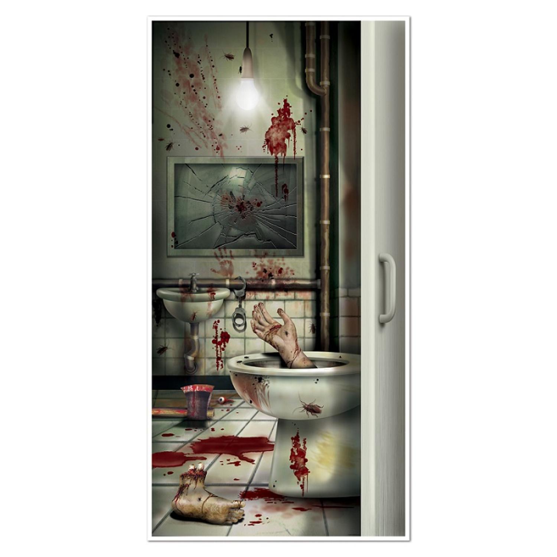 Club Pack of 12 Halloween Creepy Crapper Restroom Door Cover Party Decorations 5'