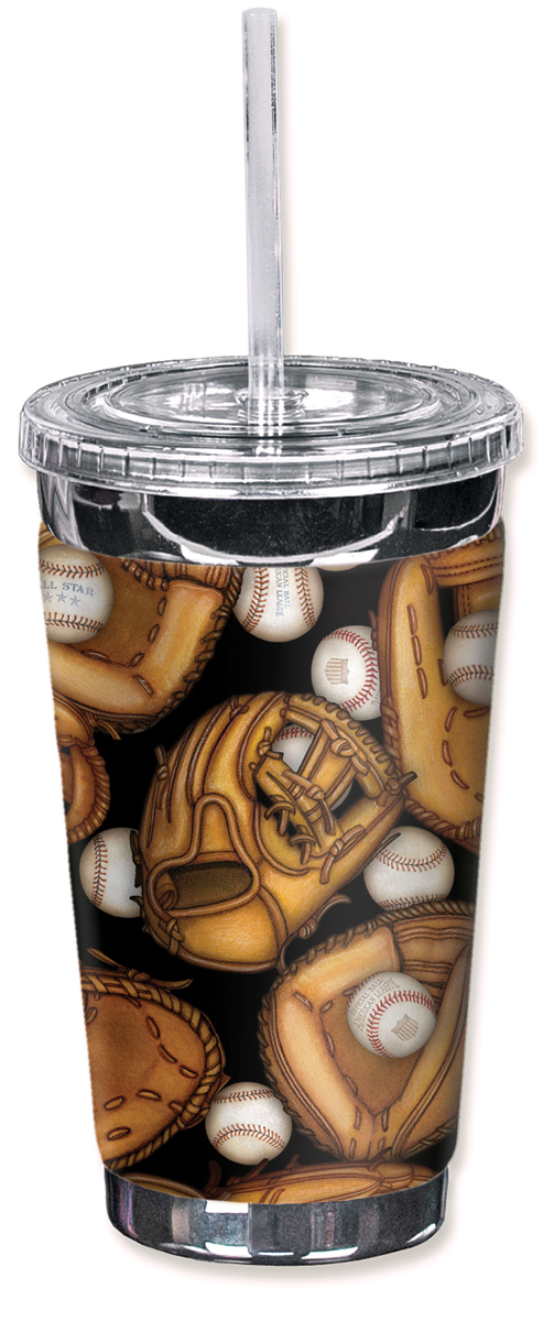Mugzie 16 Ounce To Go Tumbler with Insulated Wetsuit Cover Baseball Mom