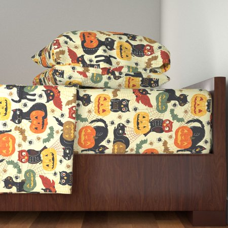 Vintage Halloween Retro Rustic 100% Cotton Sateen Sheet Set by Roostery (Halloween Division Sheets)