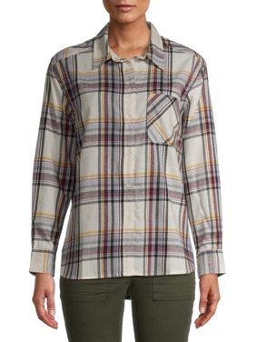 Time and Tru Women's Plaid Button Front Shirt
