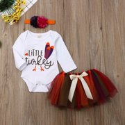 2019 Infant Baby Girl Thanksgiving Tops Romper Tutu Dress 3PCS Outfit Clothes