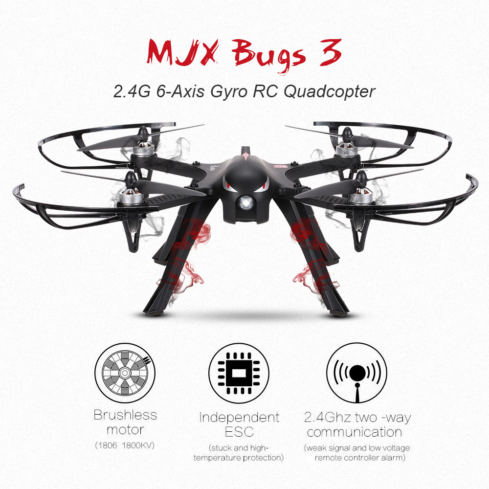 MJX Bugs 3 2.4G 6-Axis Gyro Brushless Motor Independent ESC Drone Support C4000 Gopro 3 4 Action Camera RC... by MJX