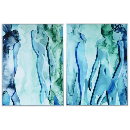 Empire Art Direct Blue & Green Silhouette Printed on Glass Art with Anodized Aluminum Silver Frame Wall Art, 40
