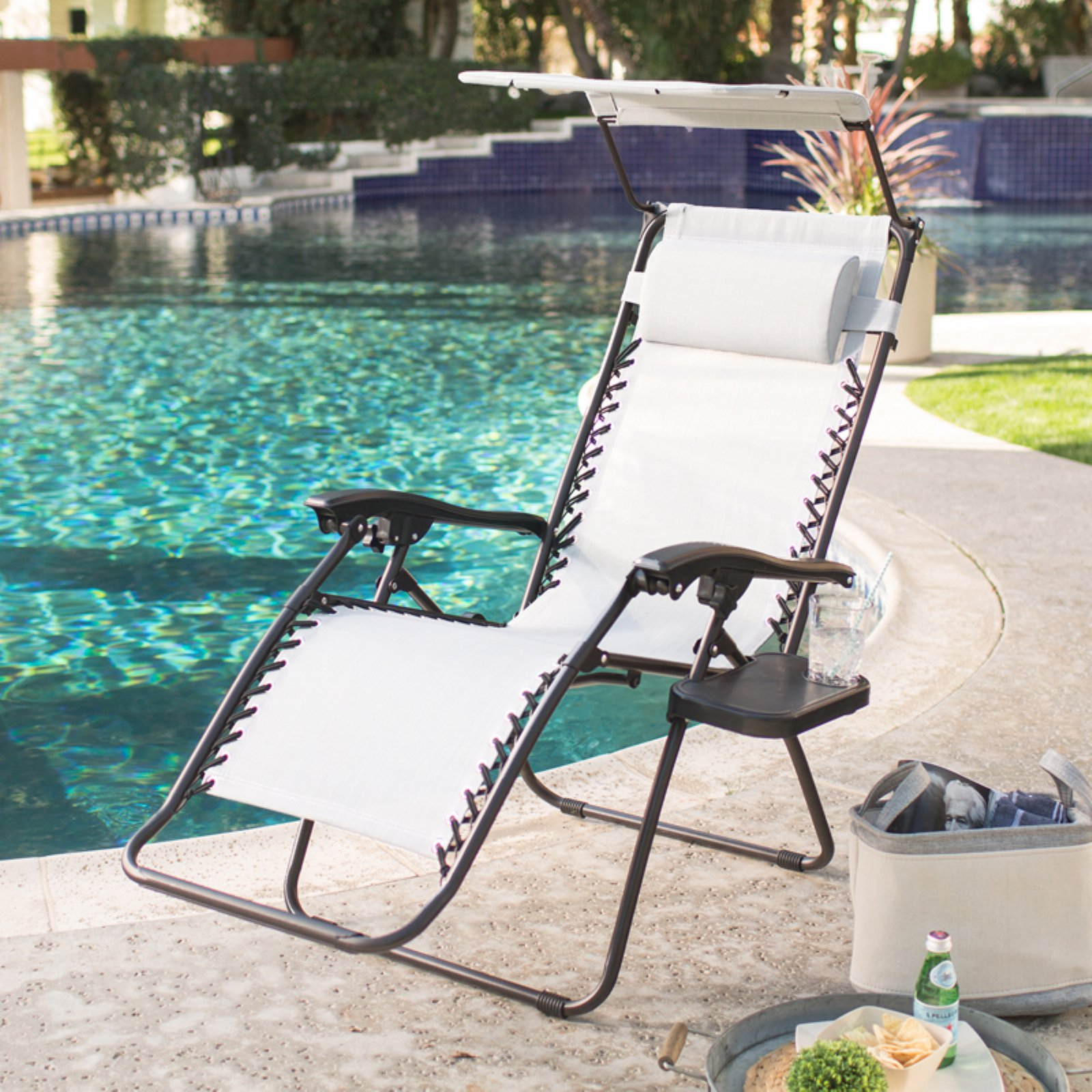 Coral Coast Zero Gravity Chair with Drink Tray and Sunshade