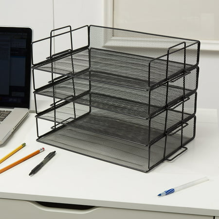 - 4 Tier Stackable Desktop Letter Tray Desk Organizer | School, Home and Office Basic Organization Accessories Sorter for Files, Documents, Letters, and Mail - Steel Mesh Holder - Black