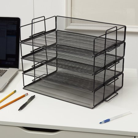 4 Tier Stackable Desktop Letter Tray Desk Organizer | School, Home and Office Basic Organization Accessories Sorter for Files, Documents, Letters, and Mail - Steel Mesh Holder - Black