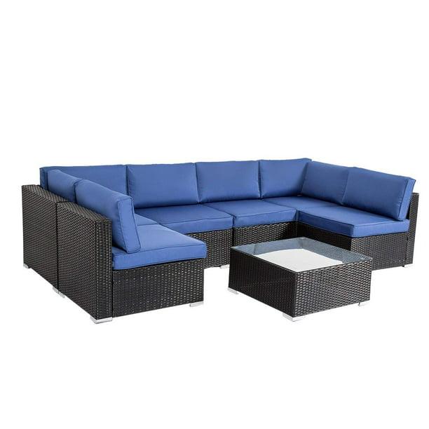 Kinbor 7pcs Outdoor Patio Furniture, Grey Rattan Garden Furniture With Blue Cushions