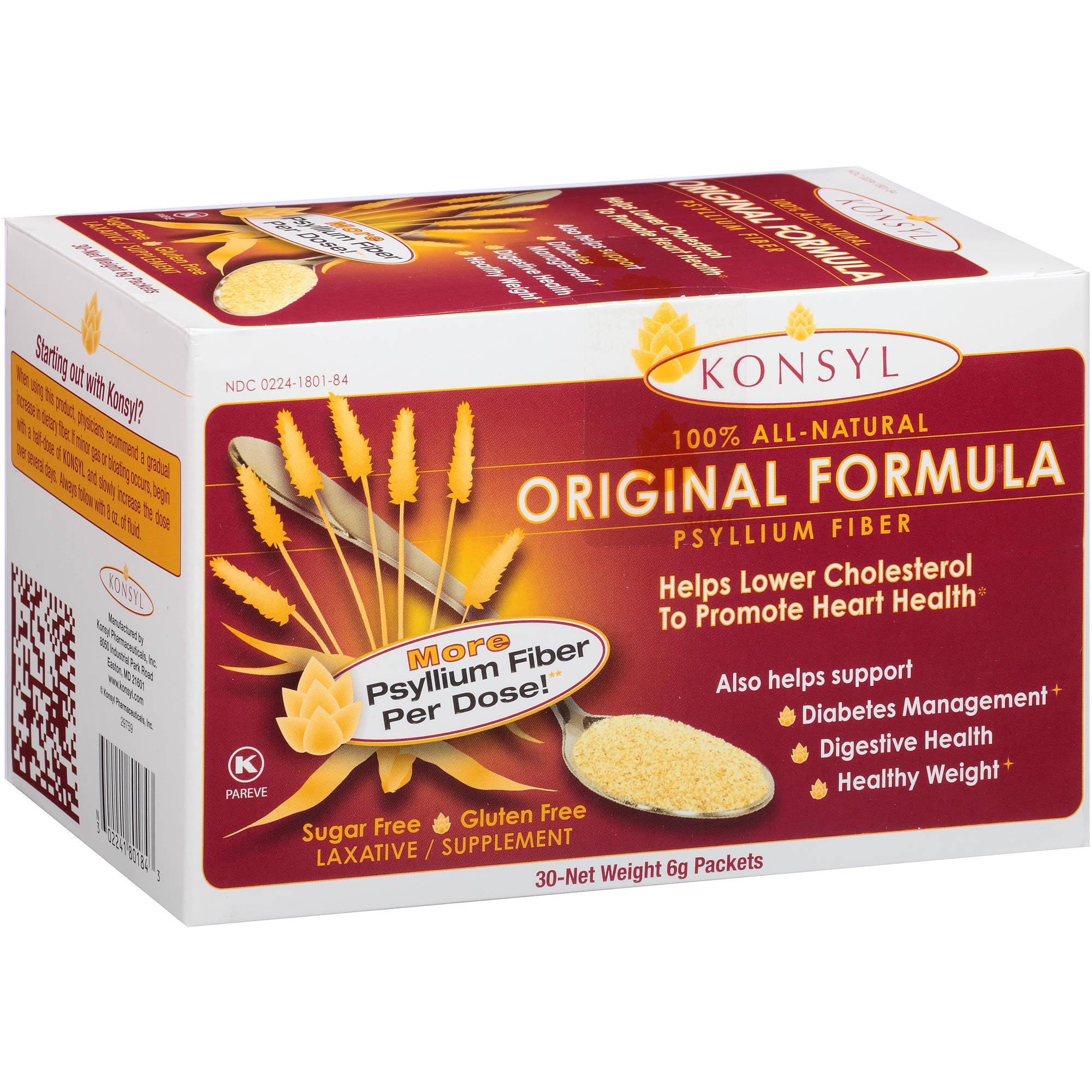 Konsyl Original Formula 100% All-Natural Psyllium Fiber Laxative/Supplement Powder Packets, 6g, 30 count
