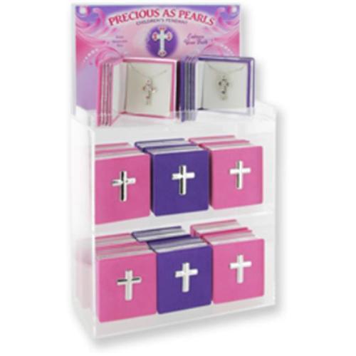 Pendant-Cross In Bible Box-Pink/Purple-24 Asst
