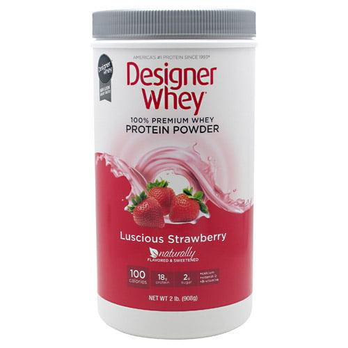 Designer Protein 100% Premium Whey Protein Powder, Summer Strawberry, 2 Pound Container