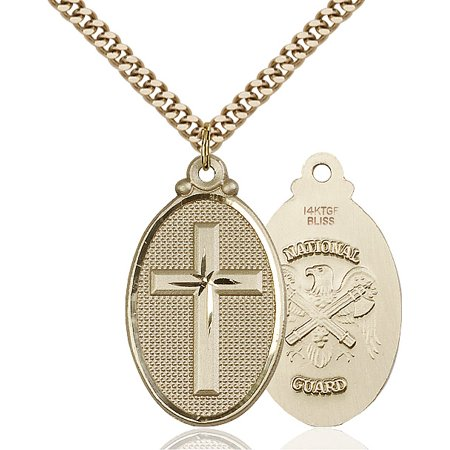 Gold Filled Cross / National Guard Pendant 1 1/4 x 5/8 inches with Heavy Curb Chain (Army National Guard Jewelry)