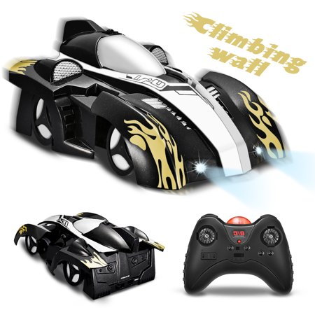 Dual Toy (FUNTOK Remote Control Car Toy, Wall Climbing Car - Dual Mode 360° Rotating LED Head Gravity Defying Stunt Car, Gift for Kids,)