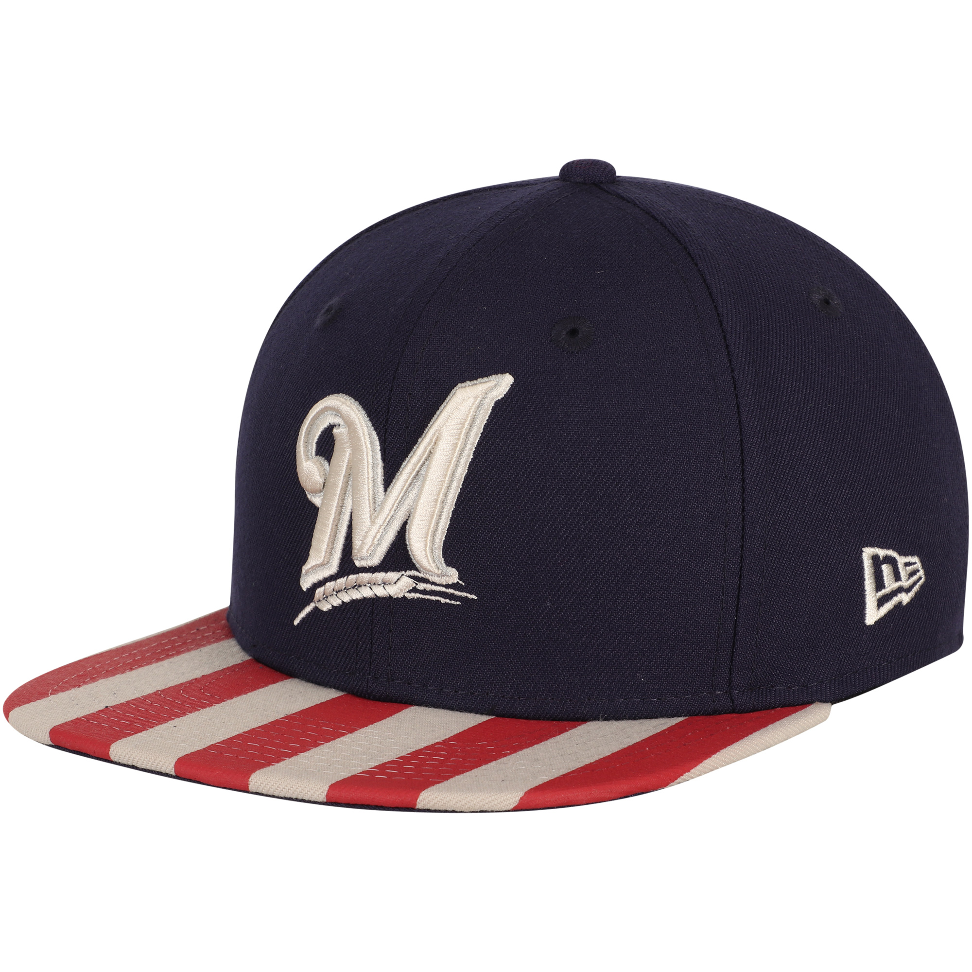 Milwaukee Brewers New Era Fully Flagged 9FIFTY Adjustable Hat - Navy/Red - OSFA