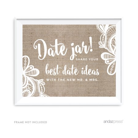 Date Jar - Share Best Date Idea Burlap Lace Wedding Party Signs - Halloween Party Sign Ideas