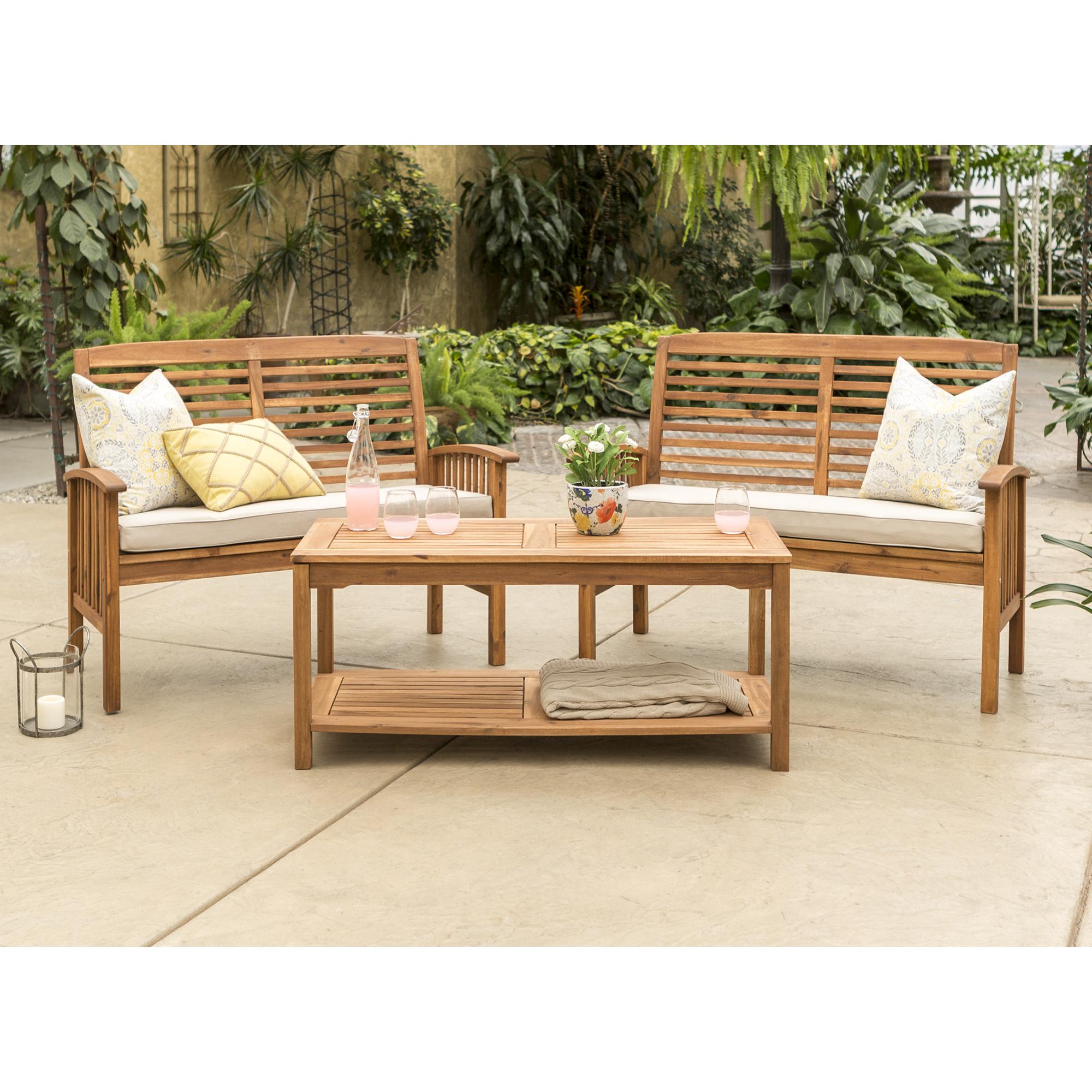 Manor Park 3-Piece Acacia Wood Outdoor Patio Conversation Set - Brown