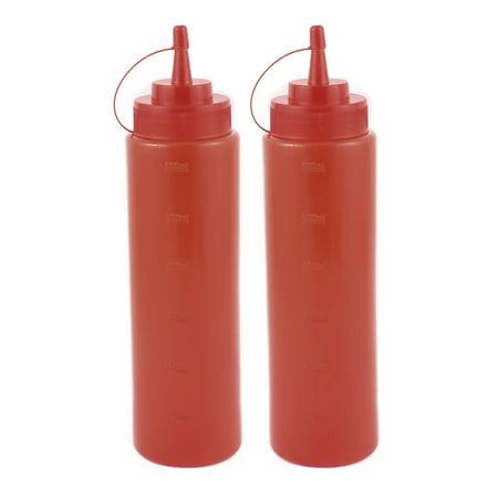 2Pcs 600ml Kitchen Plastic Squeeze Bottles Condiment Ketchup Mustard Oil Salt - Plastic Squeeze Bottles